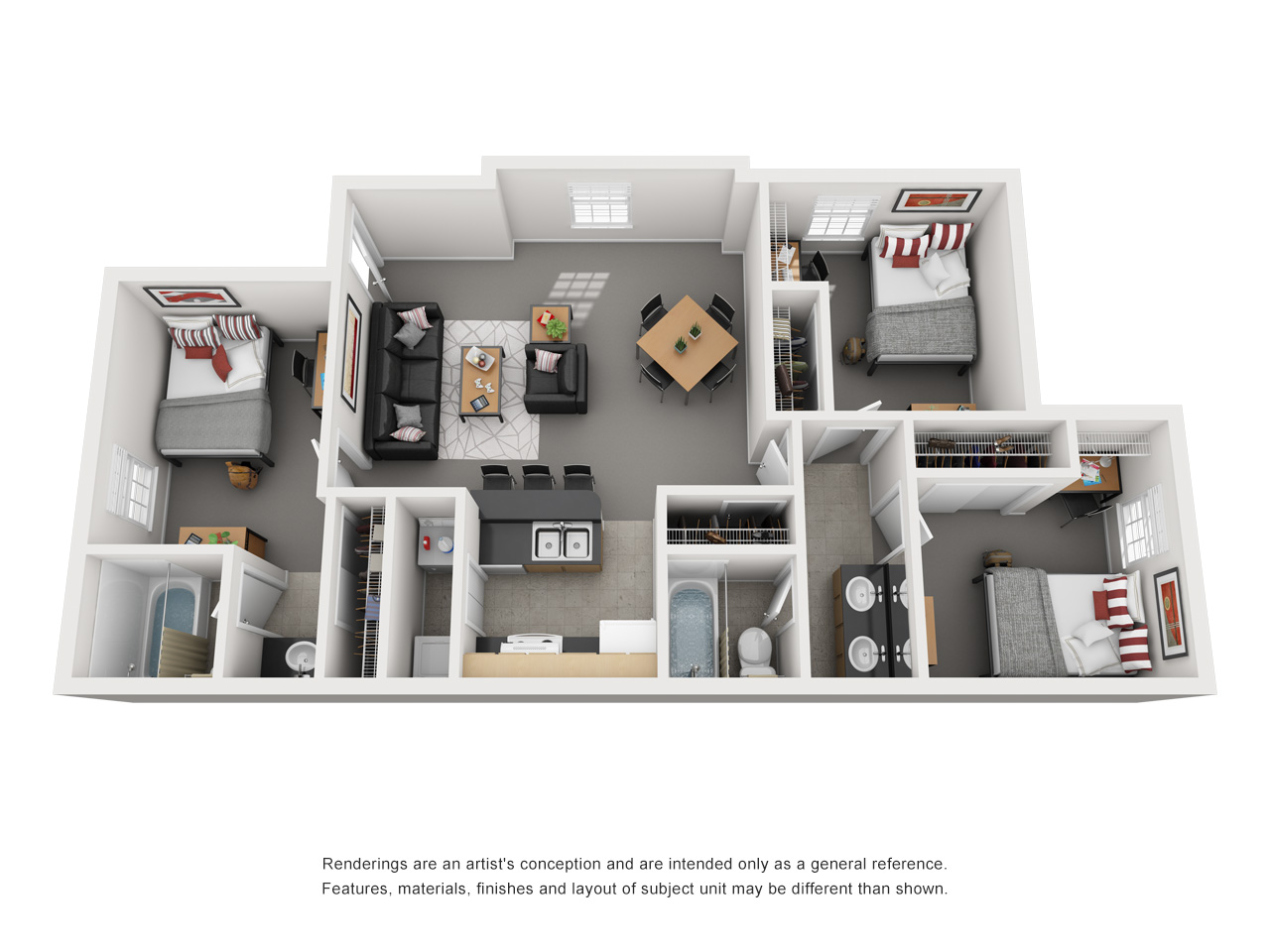 Floor plan of a 3 bed, 2 bath student apartment