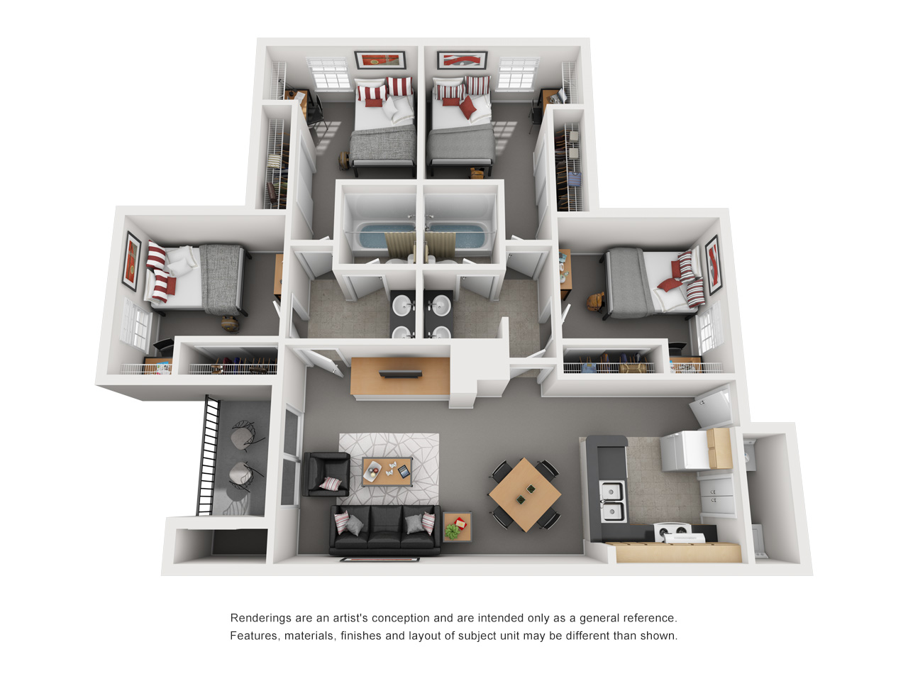 Floor plan of a 4 bed, 2 bath student apartment with a balcony